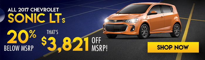 All 2017 Chevrolet Sonic LTs 20% Below MSRP  That's $3,821 Off MSRP!