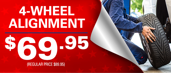 4-Wheel Alignment for $69.95