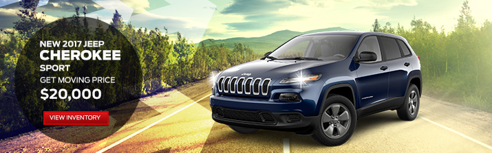 NEW 2017 JEEP CHEROKEE SPORT   MSRP $24,590 FREMONT DISCOUNT -$4,590 __________________  GET MOVING PRICE: 		 		$20,000