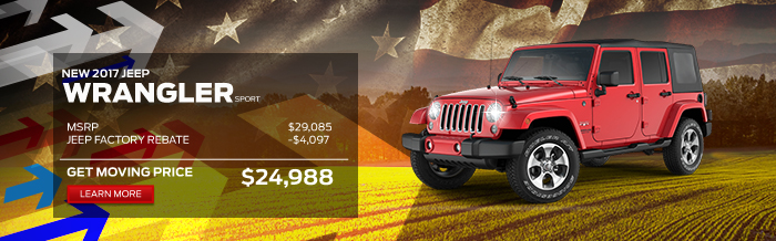 2017 Jeep Wrangler Sport MSRP: 				$29,085 Fremont Discount: 			-$4,097 Your Price: 				$24,988