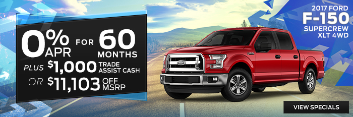 2017 Ford F-150 - 0% APR for 60 Months Plus $1,000 Trade Assist Cash or $11,103 Off MSRP