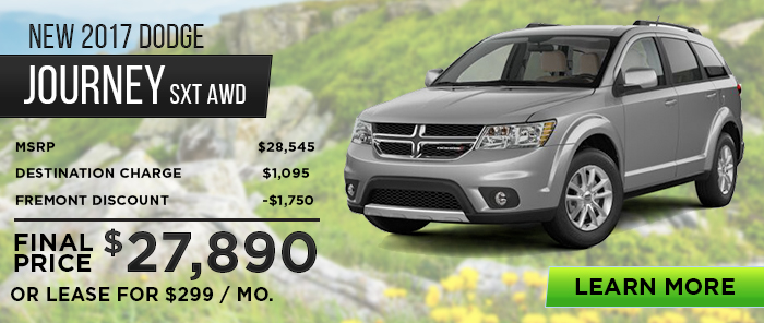 New 2017 Dodge Journey SXT AWD MSRP $28,545 Destination Charge$1,095 Fremont Discount -$1,750 _____________________   Final Price$27,890  Or Lease For $299 / Month