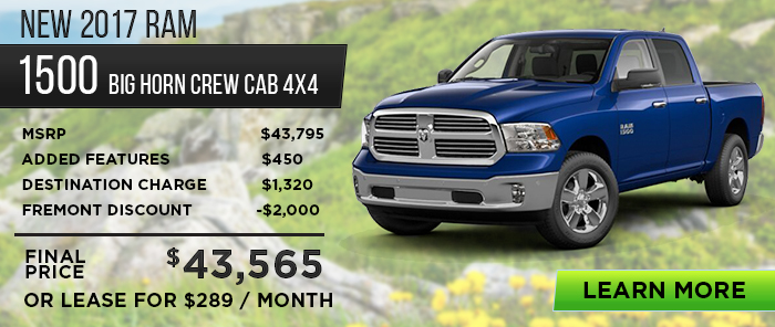 New 2017 RAM 1500 Big Horn Crew Cab 4X4    MSRP $43,795 Added Features$450 Destination Charge$1,320 Fremont Discount -$2,000 _____________________  Final Price$ 43,565   Or Lease For $289 / Month