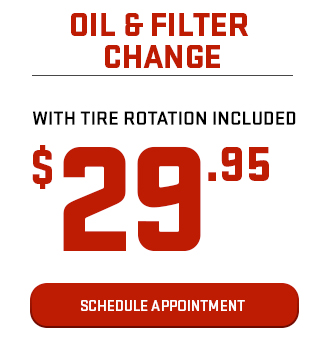 Oil & Filter Change With Tire Rotation Included $29.95