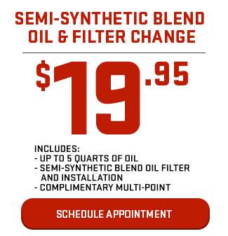 Semi-Synthetic Blend Oil & Filter Change $19.95