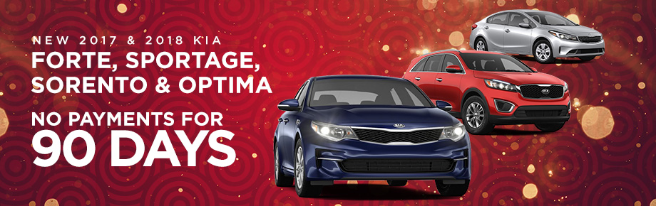 2017 and 2018 Forte, Sportage, Sorento and Optima No payments for 90 days