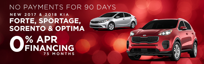 2017 and 2018 Forte, Sportage, Sorento & Optima0% APR Financing for 75 months