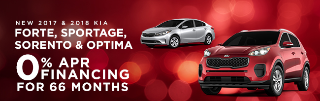 2017 and 2018 Forte, Sportage, Sorento & Optima 0% APR Financing for 66 months