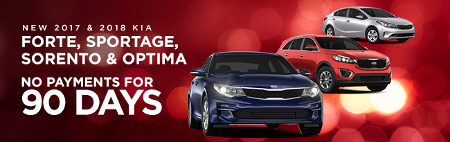 No payments for 90 days on 2017 and 2018 Kia Forte, Kia Sportage, Kia Sorento and Kia Optima